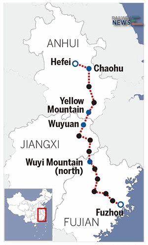 Hefei-Fuzhou-HSR-Map